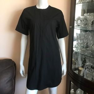 Theory Black Short Sleeve Zippered Cotton Dress
